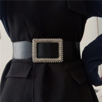 Belt / belt / chain Pu (artificial leather) Black, scheduled for 15 days! female belt literature Single loop Youth, youth, middle age Smooth button Diamond inlay soft surface 6cm alloy Tightness Liu Wuwei Elastic long water drill belt C3