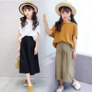 suit Other / other White, coffee, white top + card green pants, coffee Top + black pants 110cm,120cm,130cm,140cm,150cm,160cm,170cm female summer Korean version Short sleeve + pants 2 pieces routine There are models in the real shooting Socket nothing Solid color Cotton and hemp Expression of love