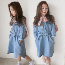 Dress blue female Other / other 110cm,120cm,130cm,140cm,150cm,160cm Cotton 95% other 5% spring and autumn Korean version Long sleeves Solid color Cotton denim Denim skirt Class B Chinese Mainland