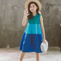 Dress blue female Other / other 120cm,130cm,140cm,150cm,160cm,165cm Cotton 97% other 3% summer Korean version other cotton Splicing style Class B Chinese Mainland