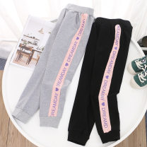 trousers Keninke female 110cm,120cm,130cm,140cm,150cm Black, gray spring and autumn trousers leisure time There are models in the real shooting Sports pants Leather belt middle-waisted cotton Open crotch Cotton 95% other 5% Class B 2, 3, 4, 5, 6, 7, 8, 9, 10, 11, 12, 13, 14 years old