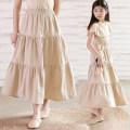 skirt 130cm,140cm,150cm,160cm,165cm light khaki  Other / other female Cotton 100% summer skirt Versatile Solid color Lotus leaf edge cotton Class B