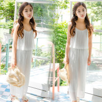 suit Other / other white 130cm,140cm,150cm,160cm,165cm female summer Korean version Sleeveless + pants 2 pieces routine There are models in the real shooting Socket nothing Solid color chemical fiber Class B Polyethylene terephthalate (polyester) 90% cotton 10% Chinese Mainland