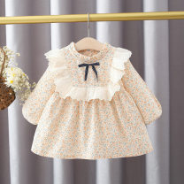 Dress Orange, yellow female Keninke 73cm,80cm,90cm,100cm Cotton 95% other 5% spring and autumn fresh Long sleeves Broken flowers cotton Princess Dress 3 months, 12 months, 6 months, 9 months, 18 months, 2 years old, 3 years old Chinese Mainland