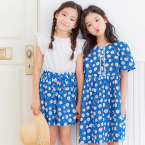 suit Keninke Blue, white 120cm,130cm,140cm,150cm,160cm,165cm female summer fresh Short sleeve + skirt 2 pieces routine There are models in the real shooting Socket nothing Solid color cotton children Expression of love Class B Cotton 95% other 5%