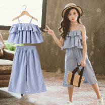 suit Keninke blue female summer Korean version Long sleeve + pants 2 pieces Thin money There are models in the real shooting Socket stripe cotton Class B Cotton 95% other 5% Chinese Mainland