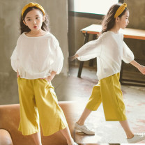 suit Other / other female summer princess Short sleeve + pants 2 pieces Thin money There are models in the real shooting Socket Solid color cotton Cotton 95% other 5%