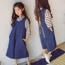 trousers Other / other female blue spring and autumn Ninth pants Korean version There are models in the real shooting Jumpsuit middle-waisted Cotton denim Cotton 100% 14, 13, 12, 11, 10, 9, 8, 7, 6, 5, 4, 3, 2 years old