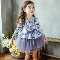 Dress Pink, light blue female Other / other 140cm,150cm,160cm Cotton 30% other 70% spring and autumn Korean version Long sleeves Broken flowers Cotton blended fabric Splicing style 107-2-3-4 other 8 years old