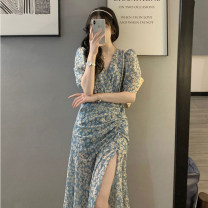 Dress Summer 2021 Picture color S,M,L,XL Mid length dress singleton  Short sleeve commute V-neck High waist Decor Socket A-line skirt routine Others Type A Other / other Retro printing 51% (inclusive) - 70% (inclusive) Chiffon polyester fiber