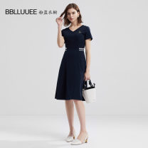 Dress Summer 2020 Ink blue 155/36/S 160/38/M 165/40/L 170/42/XL 175/44/XXL Middle-skirt singleton  Short sleeve commute V-neck middle-waisted stripe Socket A-line skirt routine Others 35-39 years old Type X Bblluuee / pink and blue wardrobe lady Splicing 502Z093 31% (inclusive) - 50% (inclusive)