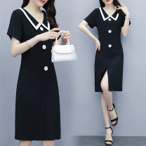 Women's large Summer 2020 Black western dress L suggests 105-120 Jin, XL 121-134 Jin, 2XL 135-149 Jin, 3XL 150-164 Jin, 4XL 165-179 Jin, 5XL 180-200 Jin Dress singleton  street Self cultivation Socket Short sleeve Solid color square neck Medium length Three dimensional cutting routine Middle-skirt