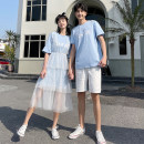 T-shirt Youth fashion Women's skirt suit, men's suit, yellow women's T-shirt, white men's T-shirt thin S,M,L,XL,2XL,3XL Others Short sleeve Crew neck easy Other leisure summer youth tide 2021 cotton