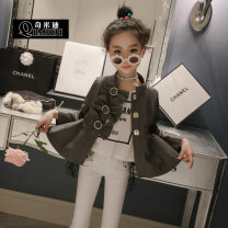 Jacket / leather Other / other female Foreign style ash 100-100cm, 110-110cm, 120-120cm, 130-130cm, 140-140cm, 150-150cm PU leather Korean version spring and autumn routine nothing Buckle There are models in the real shooting Crew neck Class B
