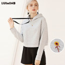 Sweater / sweater Autumn of 2018 Grey sweater S M L Long sleeves have cash less than that is registered in the accounts Socket singleton  routine Hood easy Sweet routine Plants and flowers 18-24 years old 81% (inclusive) - 90% (inclusive) LUIMINE cotton 18QWY3374 Lace up stitching cotton Cotton liner