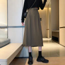 skirt Summer 2020 S,M,L,XL Camel, black longuette commute High waist Solid color Type A 18-24 years old 31% (inclusive) - 50% (inclusive) Other / other Korean version