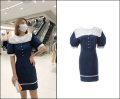 Dress Summer 2021 blue S,M,L Short skirt Short sleeve street Admiral High waist Open back, Ruffle Europe and America