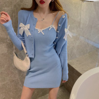 Dress Summer 2021 Black coat, white coat, blue coat, white suspender skirt, black suspender skirt, blue suspender skirt Average size Short skirt singleton  Sleeveless commute V-neck High waist other Socket A-line skirt other camisole 18-24 years old Type A Korean version other