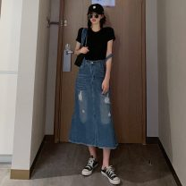 skirt Summer 2020 S,M,L Picture color Mid length dress commute High waist Strapless skirt Solid color Type A 18-24 years old 31% (inclusive) - 50% (inclusive) Other / other polyester fiber hole Korean version
