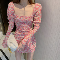 Dress Spring 2021 Picture color S, M Short skirt singleton  Long sleeves commute square neck High waist Decor Socket A-line skirt routine Breast wrapping 18-24 years old Type A Korean version Pleating 31% (inclusive) - 50% (inclusive) other