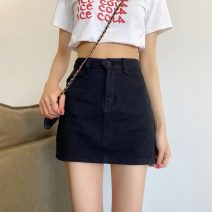skirt Summer 2021 XXS,XS,S,M,L,XL Black, beige Short skirt commute High waist A-line skirt Solid color Type A 18-24 years old 31% (inclusive) - 50% (inclusive) Denim Korean version