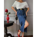 skirt Spring 2021 S,M,L Dark blue, light blue Middle-skirt commute High waist skirt Solid color Type H 21W44 81% (inclusive) - 90% (inclusive) Denim