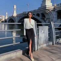 skirt Summer 2021 S,M,L black Mid length dress commute High waist skirt Solid color 21W26 pocket Retro