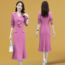 Dress Autumn 2020 Navy Pink Purple 160/M 165/L 170/XL 175/2XL Mid length dress singleton  Long sleeves commute V-neck High waist Solid color zipper other routine Others 25-29 years old Type A Still pure Korean version Y6208158 81% (inclusive) - 90% (inclusive) other polyester fiber