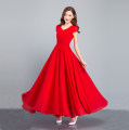 Dress Summer of 2019 red , black , royal blue , rose red S,M,L,XL,2XL,3XL longuette singleton  Short sleeve Sweet V-neck middle-waisted Solid color Socket Big swing Sleeve Others Type X Jinxiuyuan Pleats, folds, zippers Q - one thousand and eighteen More than 95% Chiffon Bohemia