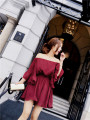 Dress Spring of 2018 claret S,M,L Short skirt singleton  elbow sleeve commute One word collar High waist Solid color Bat sleeve Type X Other / other Korean version Ruffles, stitching, printing Chiffon