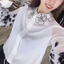 Women's large Summer 2021 shirt singleton  commute Self cultivation Socket Long sleeves Hand painted Korean version V-neck routine polyester fiber routine 96% and above Polyester 100% Pure e-commerce (online only)