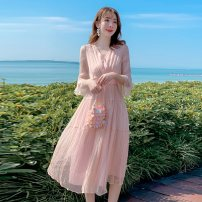 Dress Summer of 2019 White, red, pink S,M,L,XL Mid length dress singleton  three quarter sleeve Sweet V-neck middle-waisted Solid color Socket Ruffle Skirt Lotus leaf sleeve Others 25-29 years old Type A More than 95% Silk and satin silk Bohemia