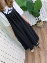 Casual pants Black, Khaki Average size Summer of 2019 Ninth pants Wide leg pants Natural waist Sweet routine 18-24 years old 71% (inclusive) - 80% (inclusive) Other / other hemp hemp solar system