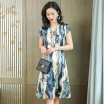Dress Summer 2021 Blue, red, yellow M,L,XL,2XL Mid length dress singleton  Short sleeve commute V-neck Decor Socket A-line skirt 40-49 years old Other / other Korean version AS201 91% (inclusive) - 95% (inclusive) Silk and satin silk