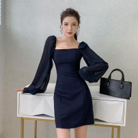 Dress Autumn 2020 Dark blue, black S,M,L,XL Short skirt singleton  Long sleeves commute square neck High waist Solid color Socket A-line skirt bishop sleeve Others 25-29 years old Type H lady Splicing 30% and below polyester fiber