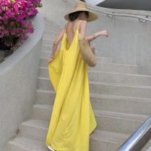 Dress Summer of 2019 yellow S,M,L longuette singleton  Sweet square neck Loose waist Solid color Socket Big swing other camisole 25-29 years old Type A Other / other 81% (inclusive) - 90% (inclusive) Chiffon polyester fiber Bohemia