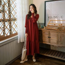 Dress Autumn of 2019 gules S,M,L,XL Mid length dress singleton  Long sleeves commute square neck Loose waist Solid color Socket Big swing bishop sleeve Others 25-29 years old Type H Other / other Retro 81% (inclusive) - 90% (inclusive) other polyester fiber