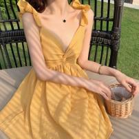 Dress Summer of 2019 Turmeric, turmeric regular S,M,L,XL Short skirt singleton  Sleeveless commute V-neck High waist Solid color zipper A-line skirt camisole Other / other Simplicity zipper polyester fiber