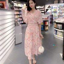 Dress Summer 2021 Pink, blue S,M,L,XL Mid length dress singleton  elbow sleeve commute V-neck middle-waisted Decor Socket Big swing Flying sleeve 18-24 years old Type A Korean version Hollowing out 30% and below Chiffon