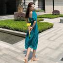 Dress Summer 2020 blue S,M,L,XL Mid length dress singleton  Short sleeve commute square neck High waist Solid color Big swing puff sleeve Type A Retro