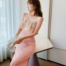 Dress Summer 2021 Pink S,M,L,XL Mid length dress singleton  Sleeveless commute One word collar High waist A-line skirt routine Breast wrapping 18-24 years old Type A Retro Open back, stitching