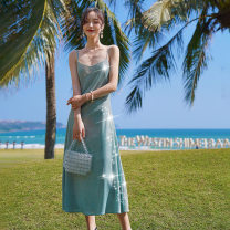 Dress Summer 2021 Silver Lake blue, Star River Pink S,M,L longuette singleton  Sleeveless commute V-neck High waist Solid color Socket A-line skirt camisole 25-29 years old Type A Korean version Gauze 31% (inclusive) - 50% (inclusive) other polyester fiber