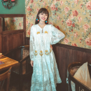 Dress Autumn 2020 white S,M,L,XL longuette singleton  Long sleeves commute V-neck High waist A-line skirt 18-24 years old Type A Retro Tassels, embroidery