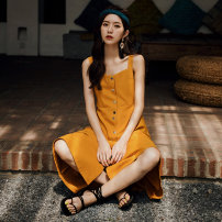 Dress Summer of 2019 yellow S,M,L,XL Mid length dress singleton  Sleeveless commute High waist Solid color Big swing straps Type A Other / other Retro straps