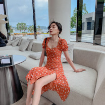 Dress Autumn 2020 Picture color S,M,L,XL longuette singleton  Short sleeve commute square neck High waist Dot Big swing puff sleeve 18-24 years old Type A Retro