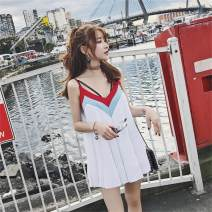 Dress Summer 2017 have cash less than that is registered in the accounts S. M, l, collection and extra car priority Short skirt singleton  Sleeveless commute V-neck Loose waist Socket Pleated skirt camisole Type A Other / other Korean version backless 71% (inclusive) - 80% (inclusive)