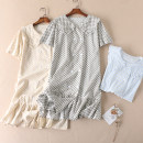 Dress Summer 2020 Grey, blue, light brown Average size Middle-skirt singleton  Short sleeve Sweet Doll Collar Loose waist Broken flowers double-breasted Ruffle Skirt routine Others Type H Other / other Fold, button, print 91% (inclusive) - 95% (inclusive) cotton solar system