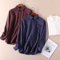 shirt Blue, white, coffee M, L Spring 2020 cotton 96% and above Long sleeves commute Regular Polo collar Single row multi button shirt sleeve Solid color Straight cylinder Other / other literature pocket pure cotton