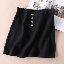 skirt Summer 2020 S,M,L black Short skirt High waist A-line skirt Solid color Type A More than 95% Denim Other / other cotton Button