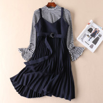 Dress Autumn 2020 Khaki, Tibetan blue S, M Mid length dress Two piece set Long sleeves commute stand collar High waist stripe Socket Pleated skirt pagoda sleeve straps Type A Other / other Korean version Fold, lace up 31% (inclusive) - 50% (inclusive) other polyester fiber